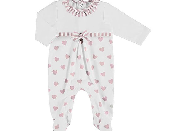 1604 Mayoral White & Pink Love Heart Sleepsuit