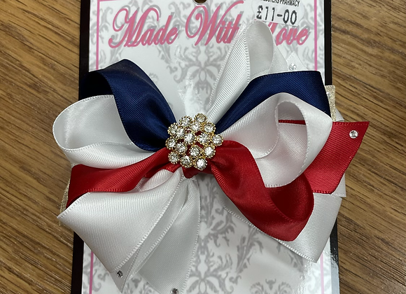 Large Red White and Navy Bow