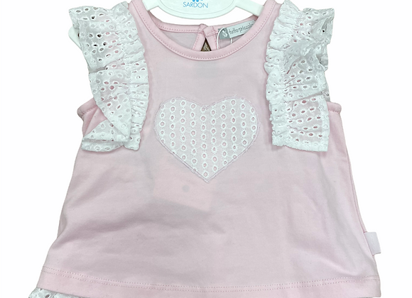 Tutto Piccolo Pink and White Broderie Shorts Set