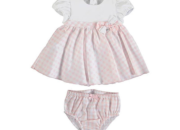 1803 Mayoral White & Pink Checked Dress