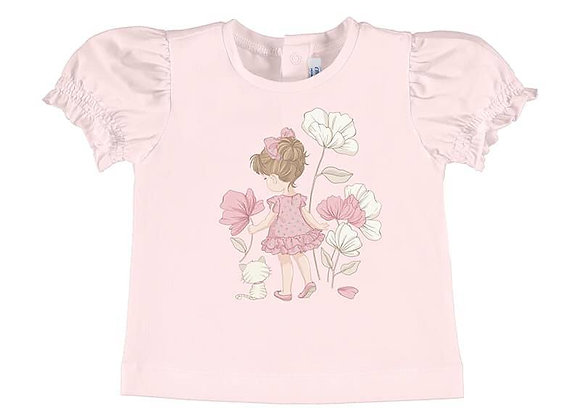 Mayoral pink T-Shirt Flower Motif