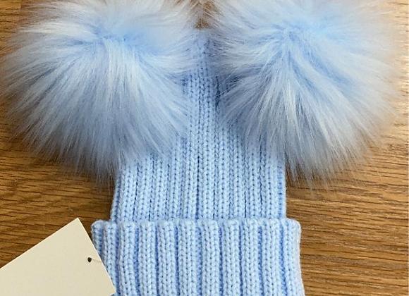 PomPom Envy Dble pompom Hat Blue