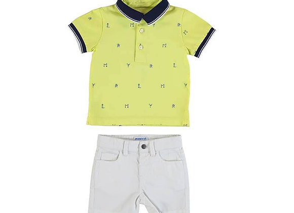 1254 Yellow Polo & Shorts Set