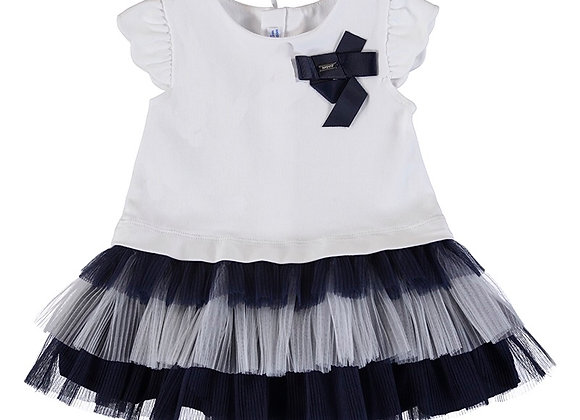 1970 White Dress With Navy Frill