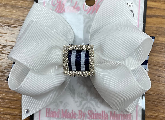 Small White and Navy Bow