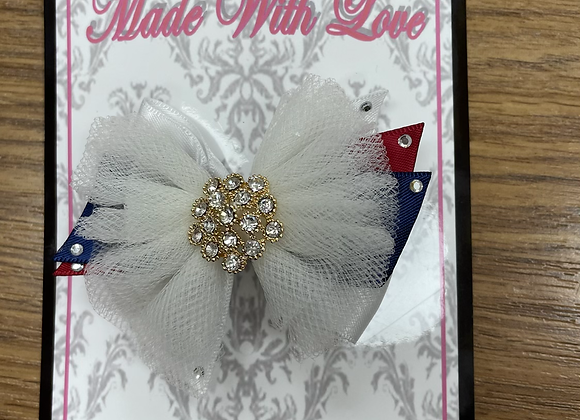 Small Navy White and Red Bow