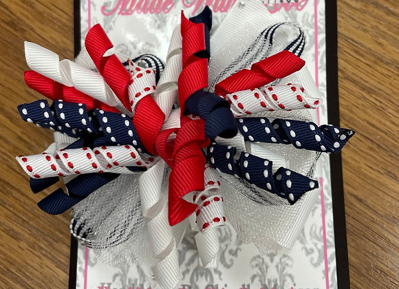 Large Red Navy and White Bow