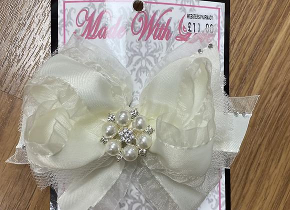 Large cream bow