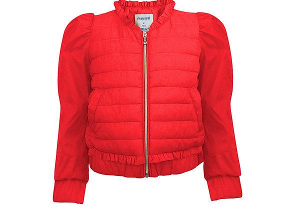 3482 Red Short Puff Sleeve Anorak