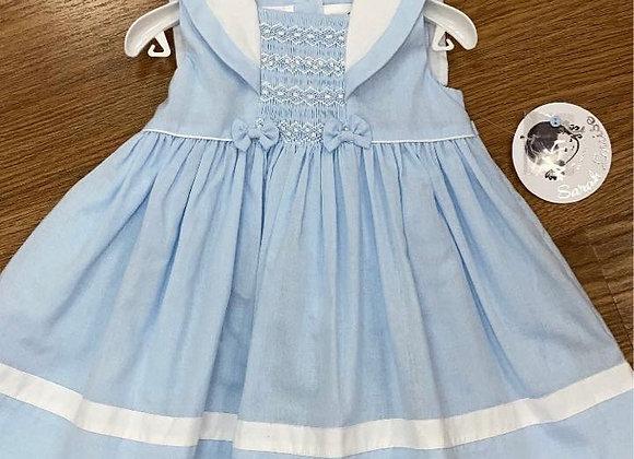 Sarah Louise Blue & White Smocked Dress