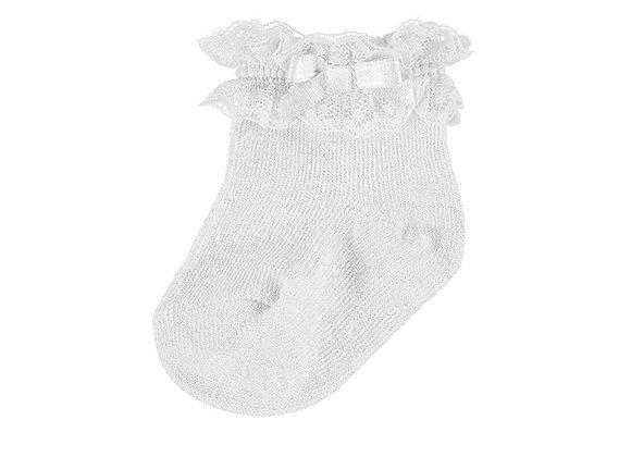 Mayoral White Ruffle Socks With Bow
