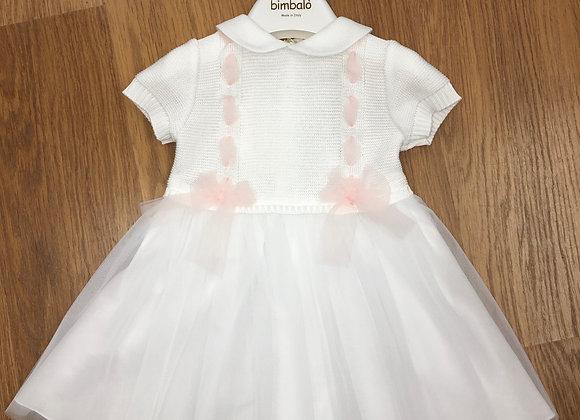 5526  Bimbalo White Knitted Dress with Organza