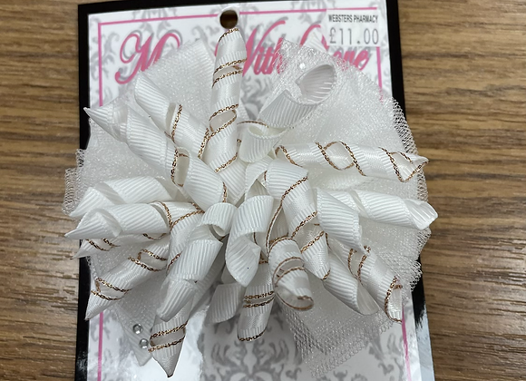 Large White and Gold Bow