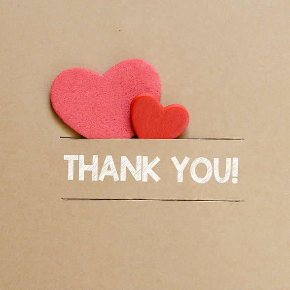 Hearts with thank you sign. Two red hear