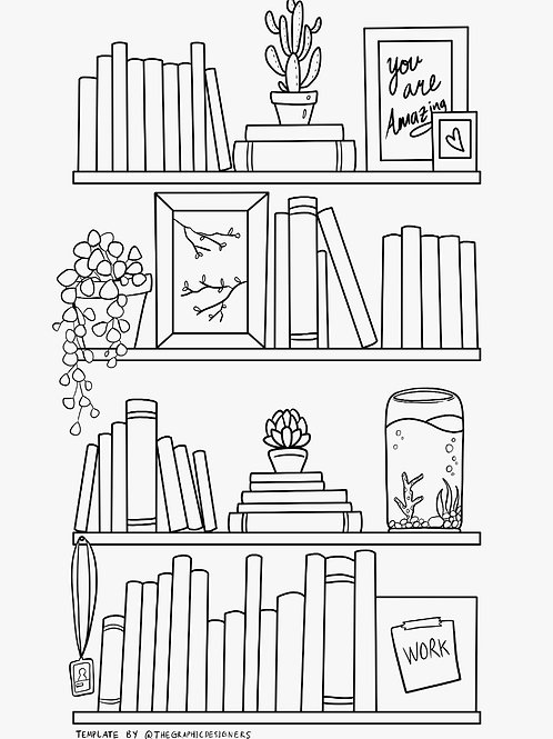 Colouring Page - Bookshelf