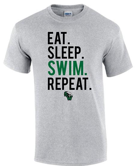 Gray T-Shirt: Eat Sleep Swim