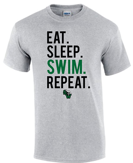 Short Sleeve Gray Dry Fit: Eat Sleep Swim