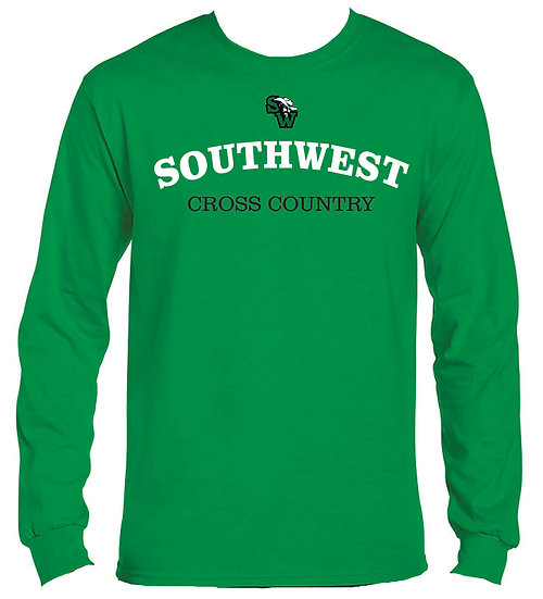 Long Sleeve Kelly Green XC T-Shirt  100% cotton