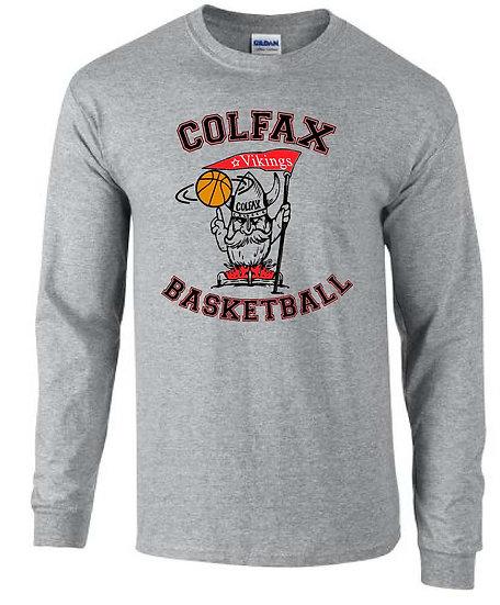 Basketball T-shirt Gray Long Sleeve