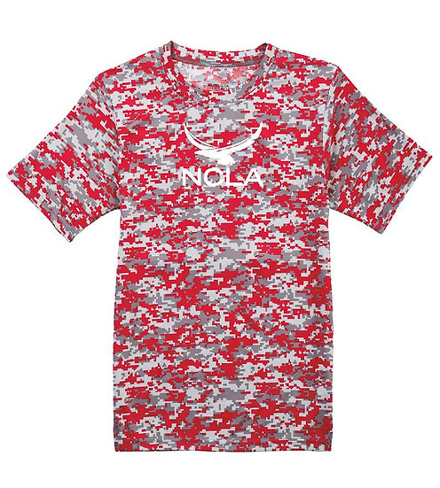 Camo Dry-fit T-shirt with small white logo