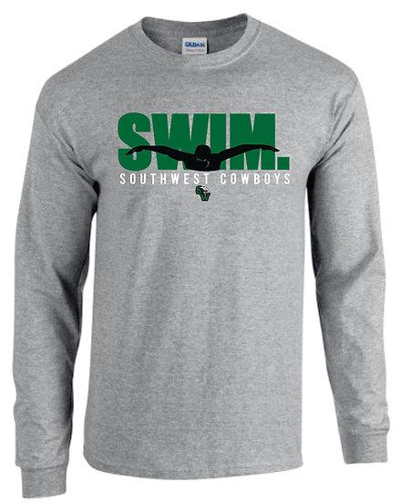 Gray Long Sleeve T-Shirt: Swim