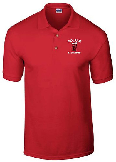 Embroidered Polo - Red 50/50 Blend