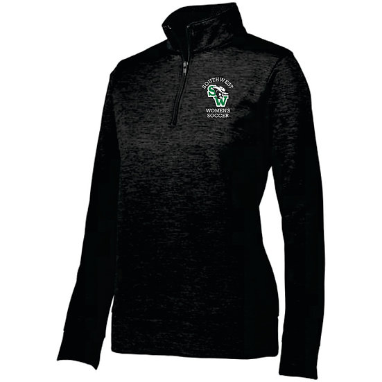 Black performance pullover with embroidered logo