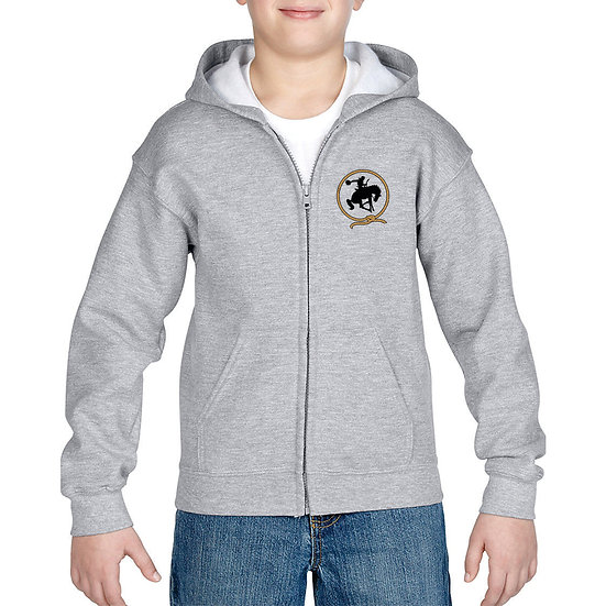 Embroidered Full Zip Gray Hoodie