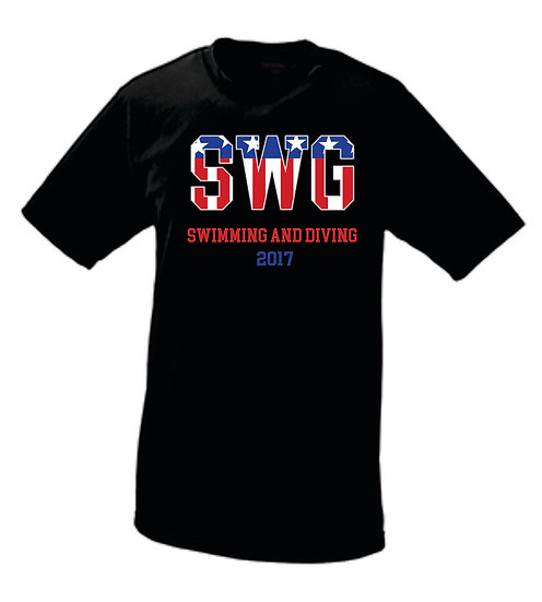 Short Sleeve Black Performance SWG Shirt with text on back