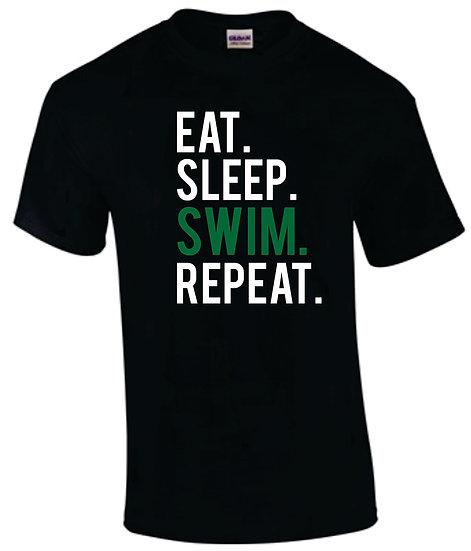 Black T-Shirt: Eat Sleep Swim