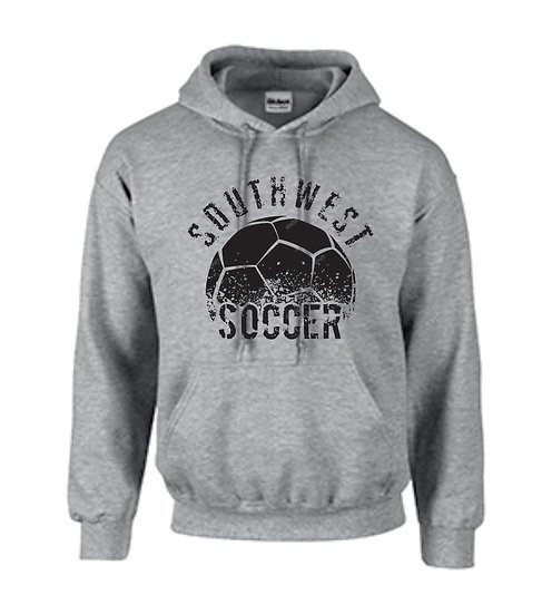Gray hoodie with warm up logo