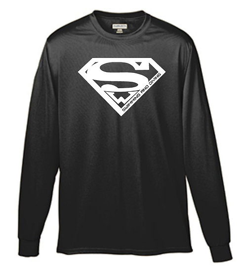 Long Sleeve Performance Superman Shirt with text on back