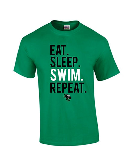 Kelly Green T-Shirt: Eat Sleep Swim