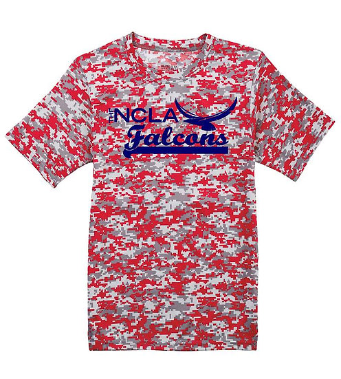Camo Dry-fit T-shirt with blue logo