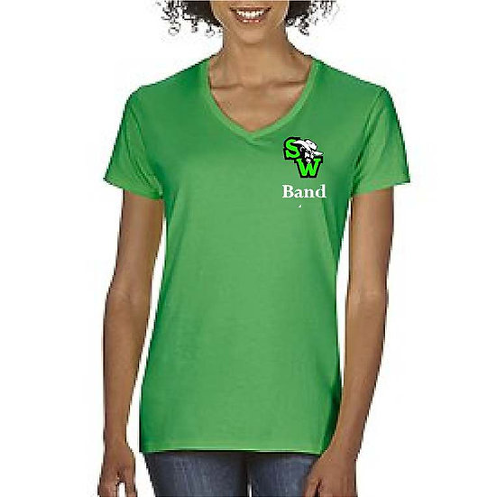 Ladies V-Neck with Embroidered Logo