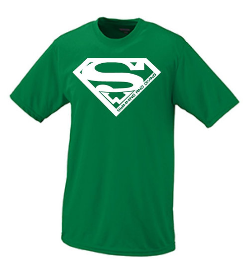 Short Sleeve Performance Superman Shirt with text on back