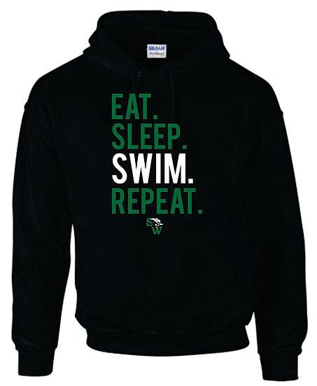 Black Hoodie: Eat Sleep Swim