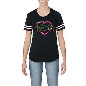 Lax Mom Glitter LADIES CUT  - Pink/Green