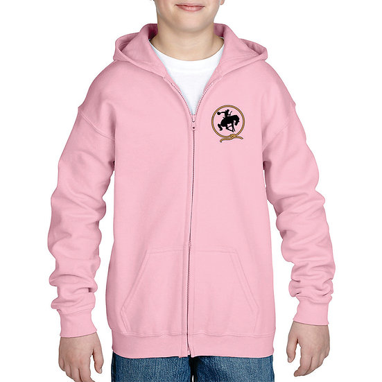 Embroidered Full Zip Pink Hoodie