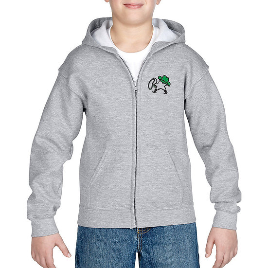 Embroidered Sport Gray Youth full zip hoodie