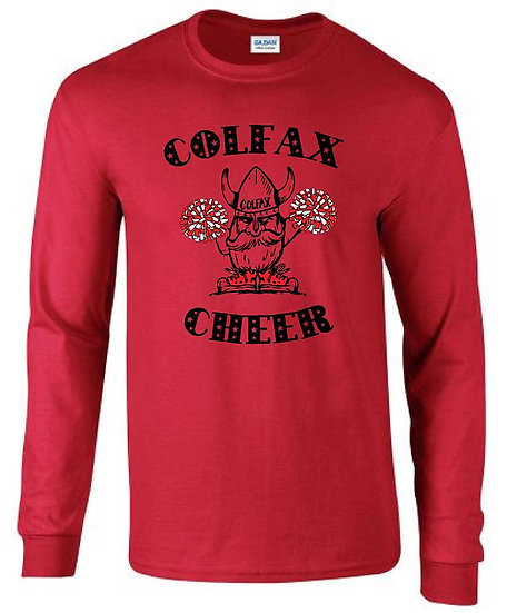 Cheer T-shirt   Red Long Sleeve