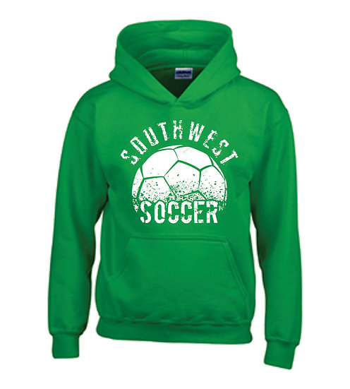 Green hoodie with warm up logo