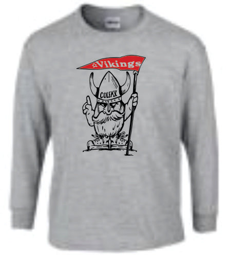 Long Sleeve Viking Mascot - Gray