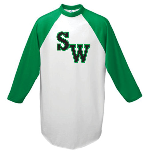 Youth Raglan 3/4 Sleeve - Black SW w/ Green Outline