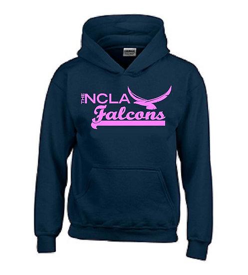 Navy Hoodie pink logo - NOT A PE UNIFORM - Spirit wear only
