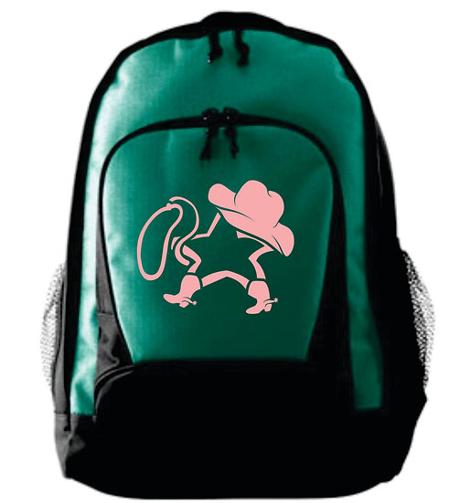 Backpack - Green and Black w/ Pink Logo