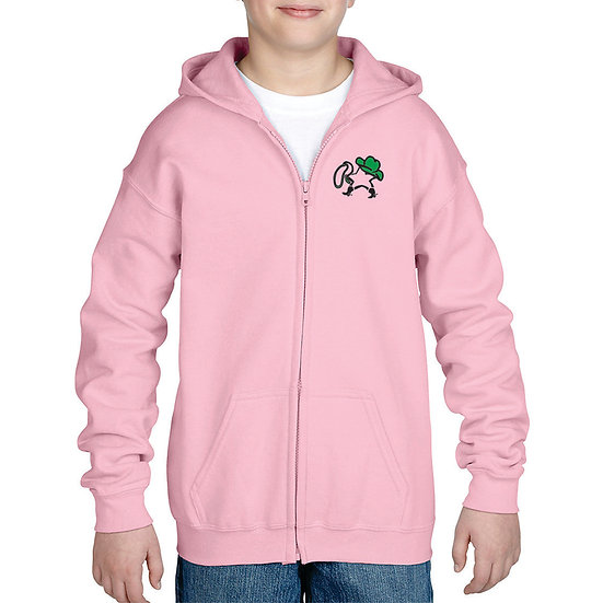 Embroidered Pink Youth full zip hoodie