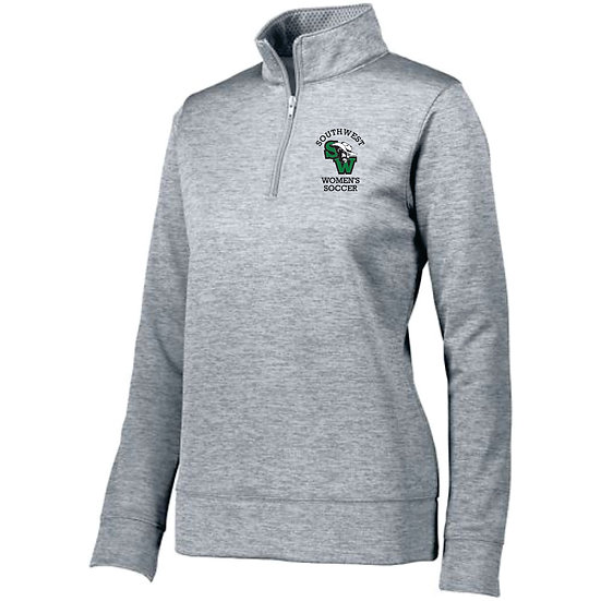 Gray performance pullover with embroidered logo