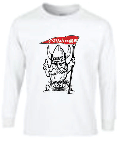 Long Sleeve Viking Mascot - White