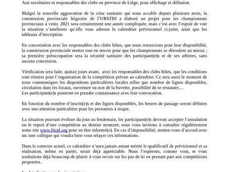Calendrier prévisionnel des championnats provinciaux 2021